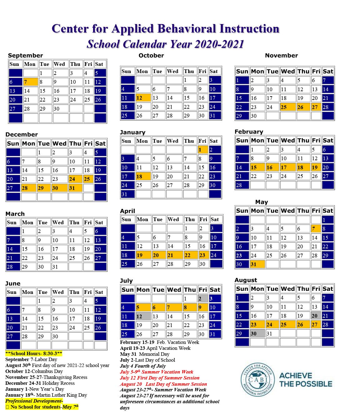 Wsesu 2021-22 Calendar School Calendar   Center for Applied Behavioral Instruction